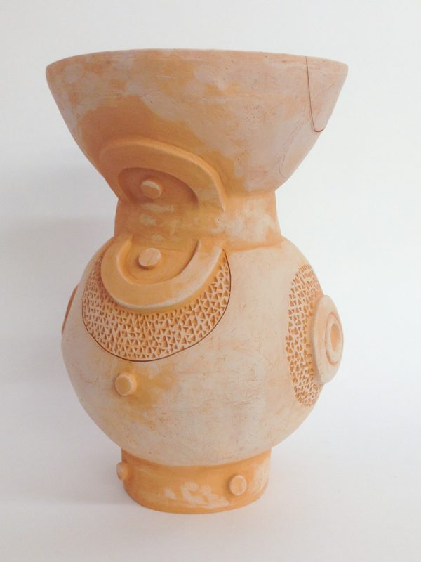 XL Double Circle Vase, terra cotta 12.5 x 18""