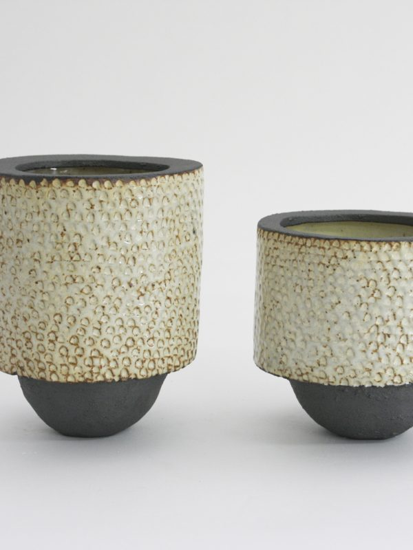 "Med Cream Planter, stoneware 6 x 6"" // Tall Cream Planter stoneware 6 x 8"""