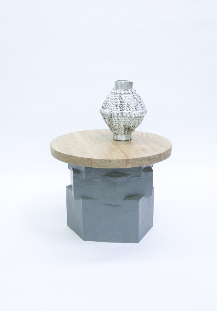 Low Gray Hex Side Table + Ash Top