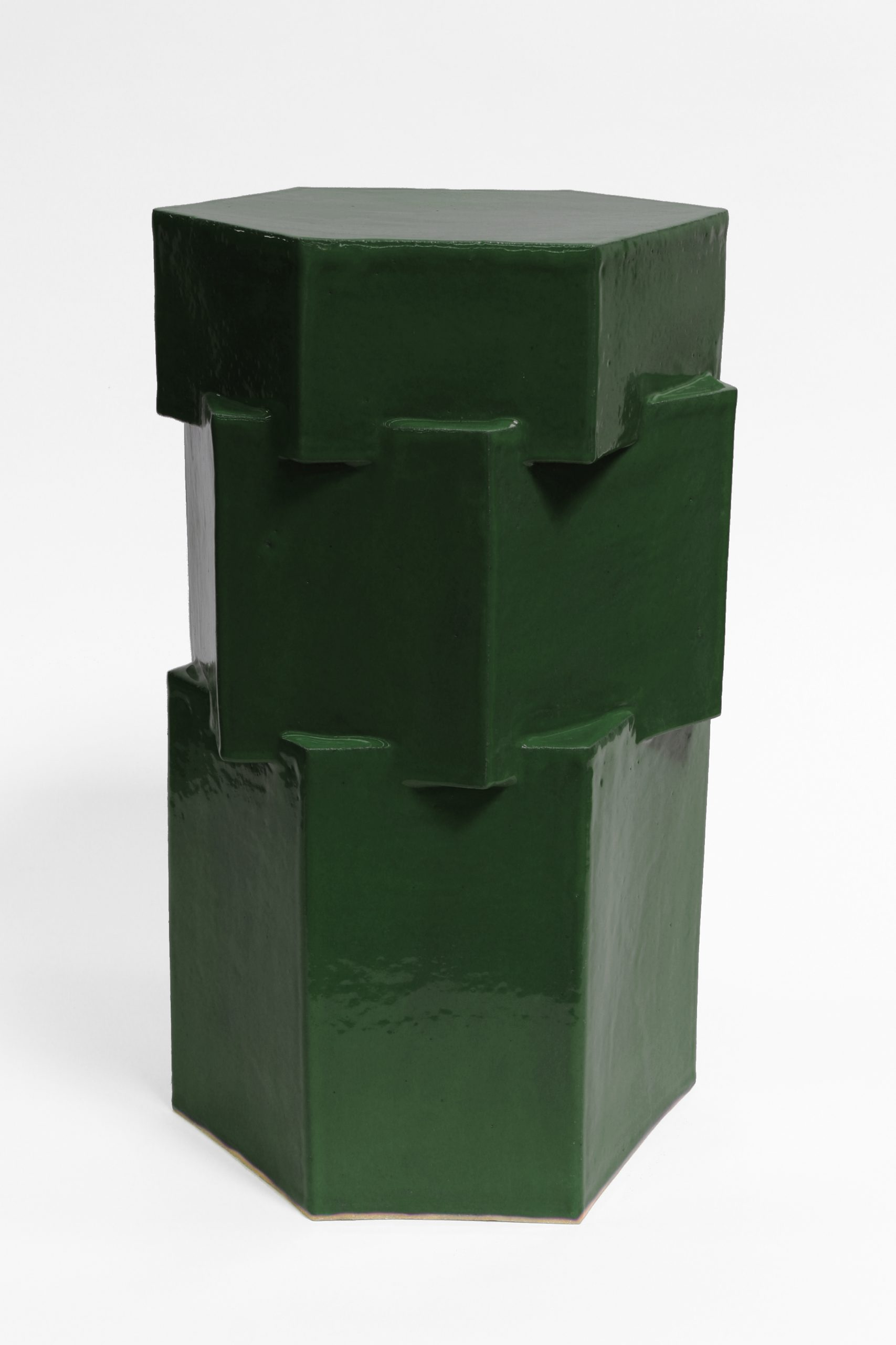 TH_ST Tall hex side table chrome green